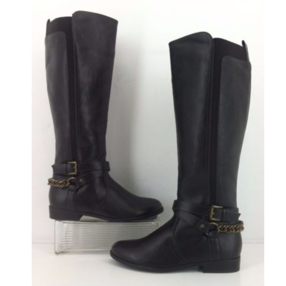 363780c50da Unisa Teylor Wide Calf Brown Chain Riding Boot NEW. NWT. Unisa.  45  99.  Size. 6